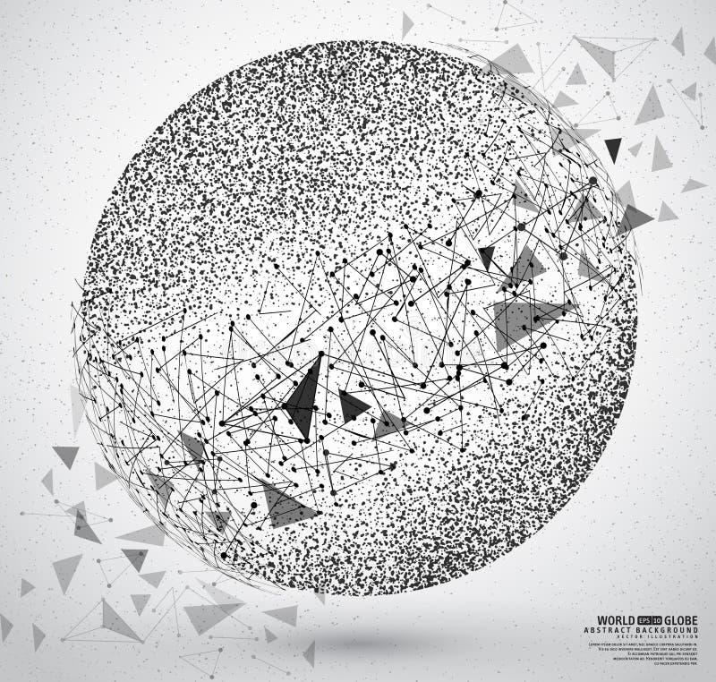 Las partículas construyeron el globo del planeta stock de ilustración