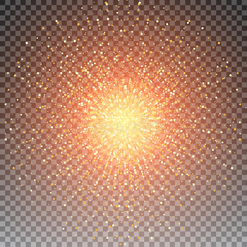 Las partículas cuadradas que brillan intensamente del reflejo de oro brillante abstracto vector el fondo ilustración del vector
