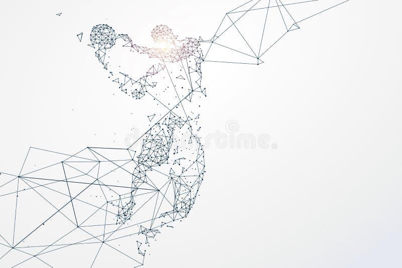 Las partículas de los gráficos de los deportes, conexión de red dieron vuelta en stock de ilustración