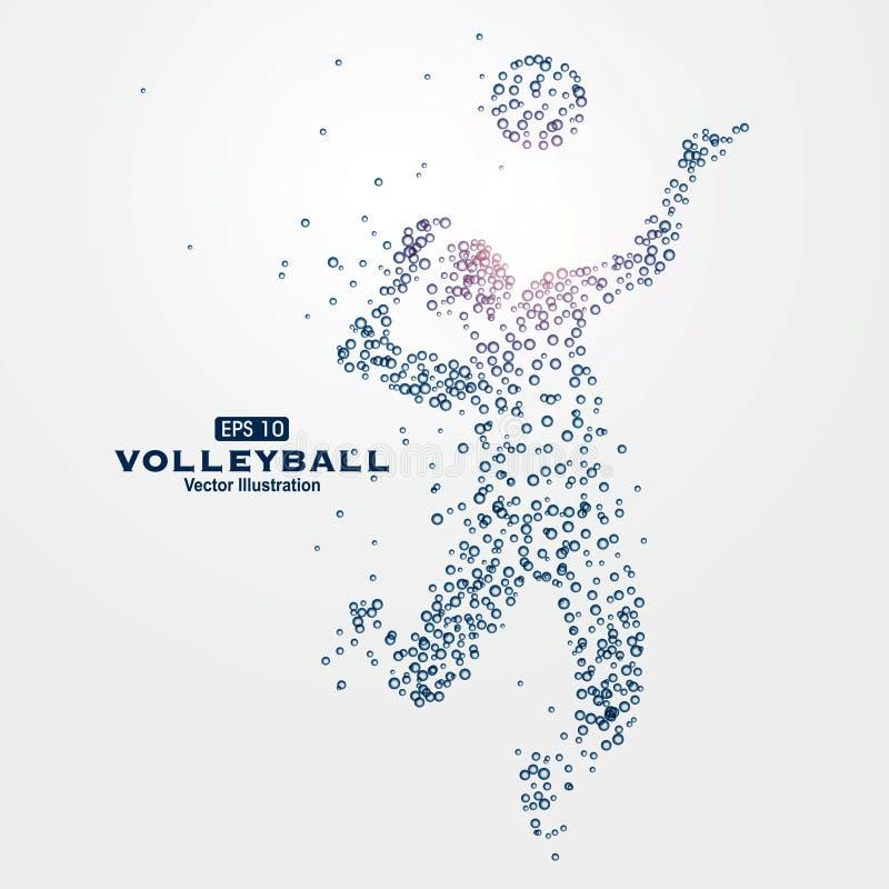 Las partículas de los gráficos de los deportes, ejemplo del vector, agua gotean, los boxeadores, atletas, voleibol libre illustration
