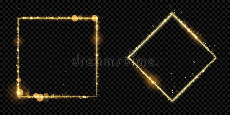 Las partículas de oro de la luz del brillo del oro del marco vector el fondo negro chispeante del cuadrado stock de ilustración