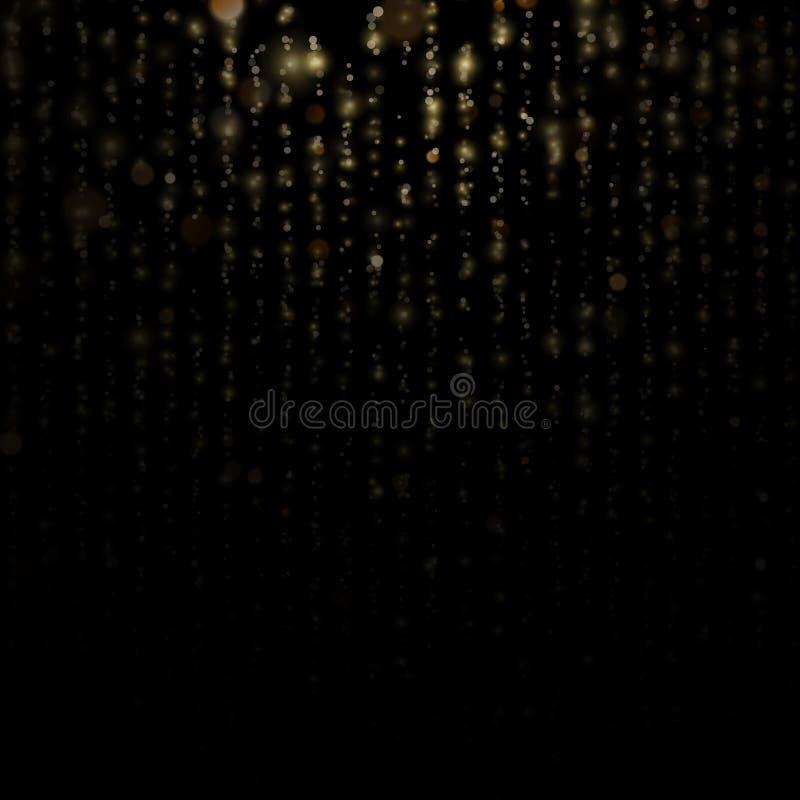 Las partículas del brillo cubrieron efecto Partículas chispeantes del polvo de estrella del oro que brillan en fondo negro EPS 10 stock de ilustración