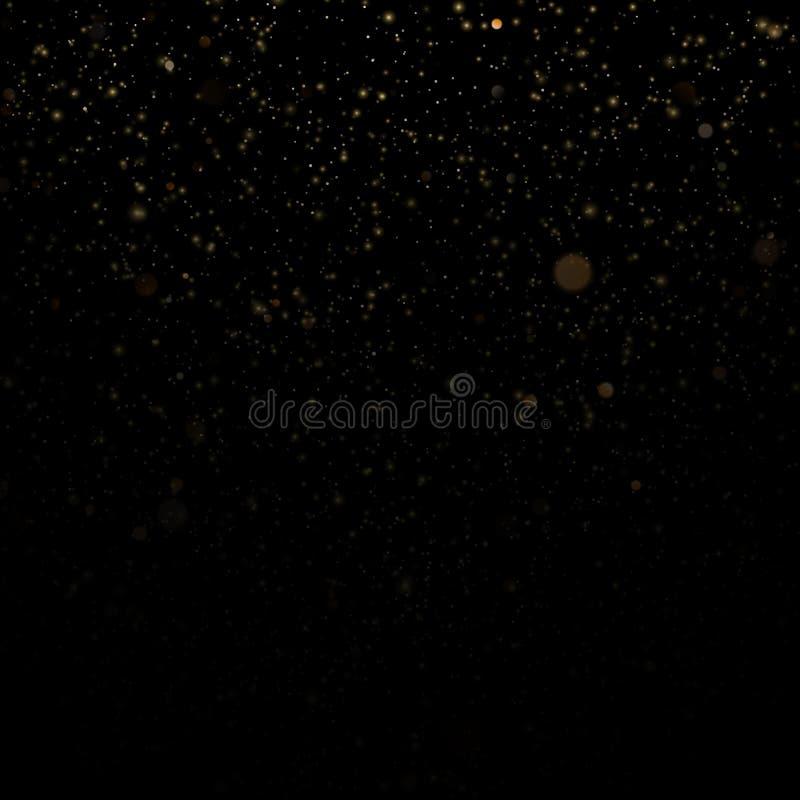 Las partículas del brillo cubrieron efecto Partículas chispeantes del polvo de estrella del oro que brillan en fondo negro EPS 10 ilustración del vector