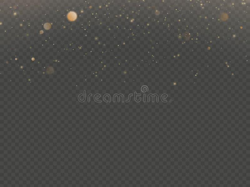 Las partículas del brillo cubrieron efecto Partículas chispeantes del polvo de estrella del oro que brillan en fondo transparente ilustración del vector