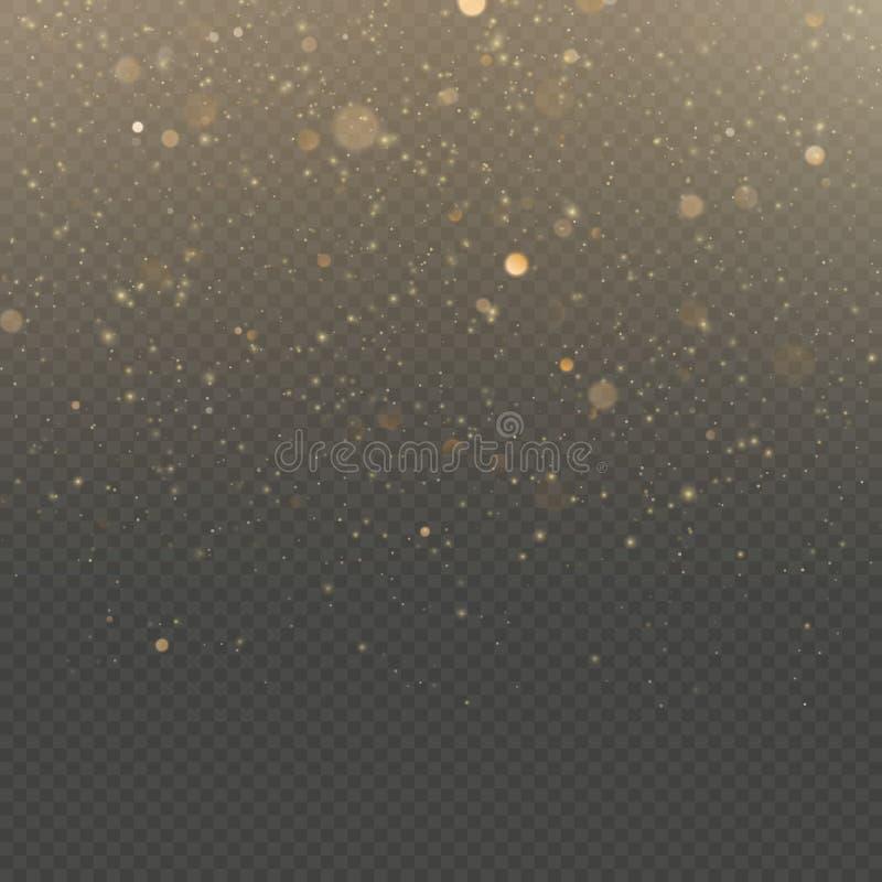 Las partículas del brillo cubrieron efecto Partículas chispeantes del polvo de estrella del oro que brillan en fondo transparente libre illustration