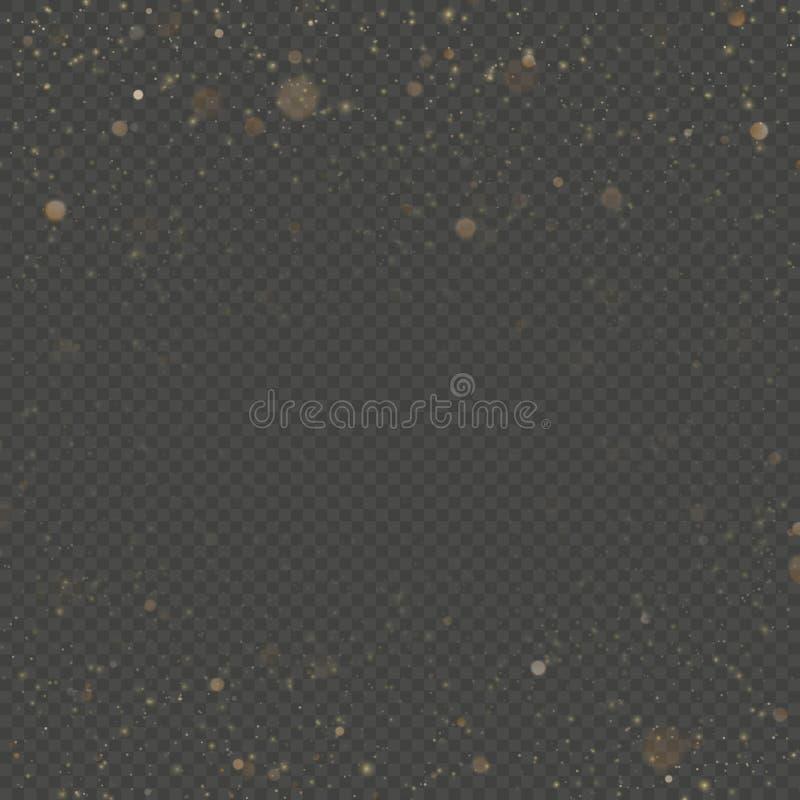 Las partículas del brillo cubrieron efecto Partículas chispeantes del polvo de estrella del oro que brillan en fondo transparente stock de ilustración