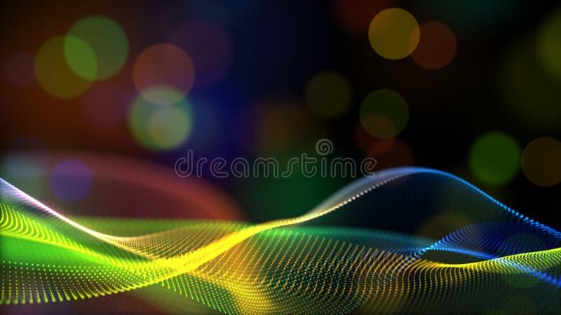 Las partículas digitales abstractas del color del arco iris o del color del holograma agitan con el fondo del flujo del bokeh libre illustration