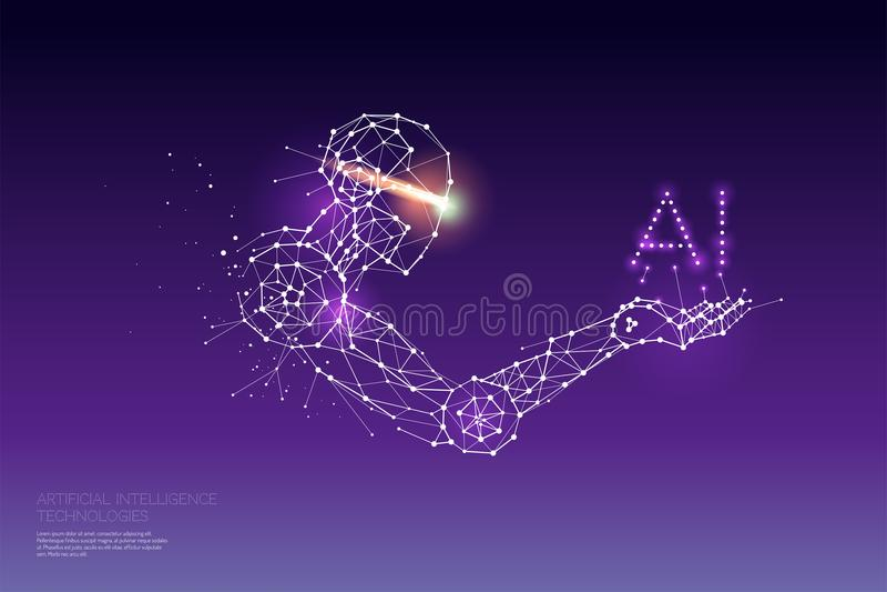 Las partículas, el arte geométrico, la línea y el punto de la tecnología del AI imagenes de archivo