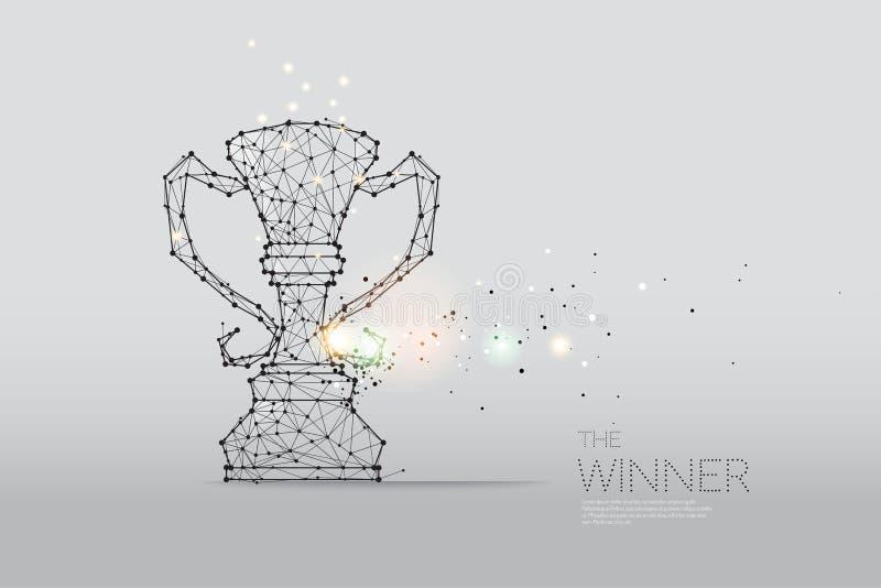 Las partículas, el arte geométrico, la línea y el punto del trofeo del ganador libre illustration
