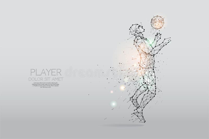Las partículas y la línea punto de futbolista indican libre illustration
