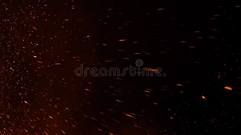 Las part?culas de las ascuas del fuego texturizan las capas Queme el efecto sobre fondo negro aislado fotos de archivo