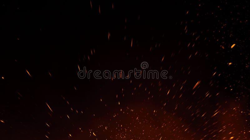 Las part?culas de las ascuas del fuego texturizan las capas Queme el efecto sobre fondo negro aislado foto de archivo libre de regalías