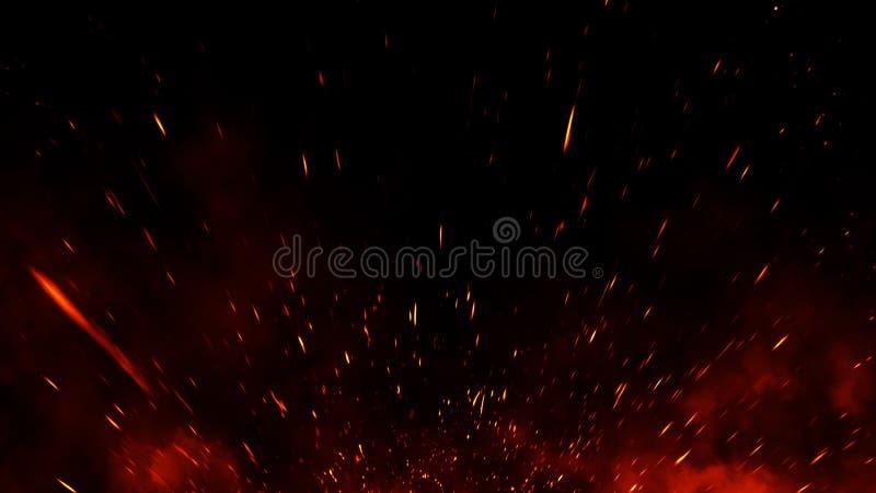 Las part?culas de las ascuas del fuego texturizan las capas Queme el efecto sobre fondo negro aislado imagen de archivo libre de regalías
