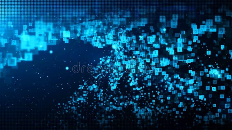 Las part?culas digitales del color azul abstracto agitan con polvo y fondo de los n?meros stock de ilustración
