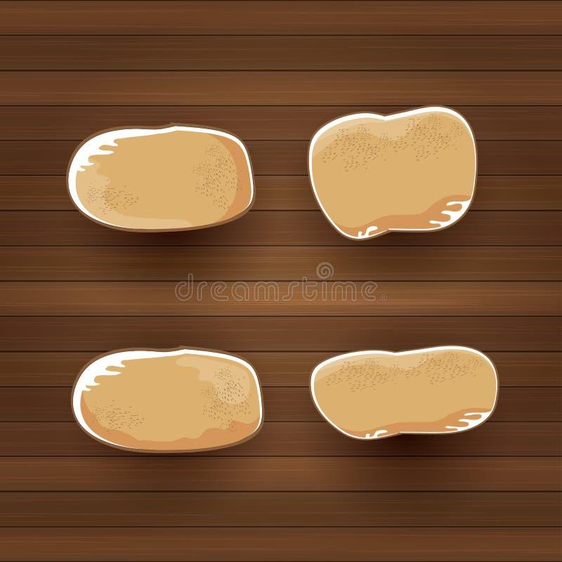 Las patatas dulces marrones lindas de la historieta divertida del vector fijaron endecha plana en fondo de madera de la tabla dis ilustración del vector