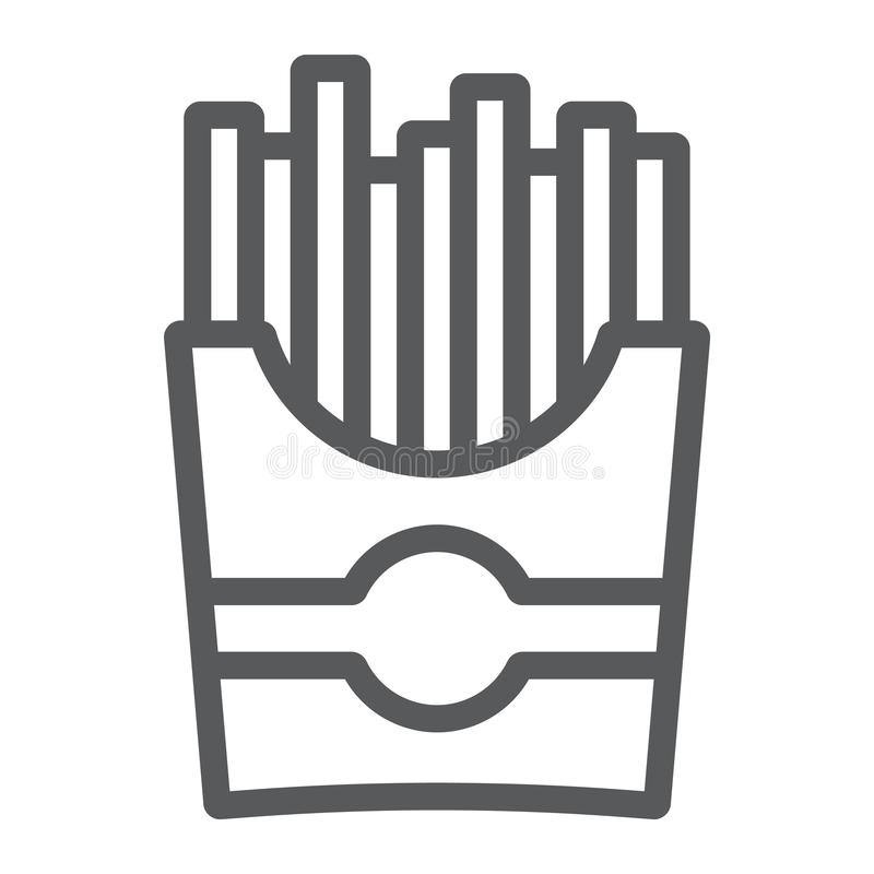 Las patatas fritas alinean el icono, el bocado y la comida, muestra de la patata, gráficos de vector, un modelo linear en un fond stock de ilustración