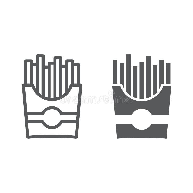 Las patatas fritas alinean y el icono del glyph, el bocado y la comida ilustración del vector