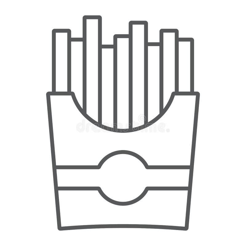 Las patatas fritas enrarecen la línea icono, el bocado y la comida, muestra de la patata, gráficos de vector, un modelo linear en libre illustration
