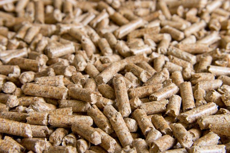 Las pelotillas de madera se cierran para arriba Combustibles biológicos Pelotillas de la biomasa - energía barata La arena para g imágenes de archivo libres de regalías