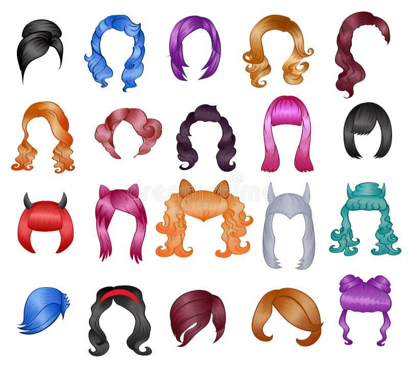 Las pelucas del peinado de la mujer vector el corte de pelo de Halloween y el estilo de pelo o la peluquería falso femenino del e stock de ilustración