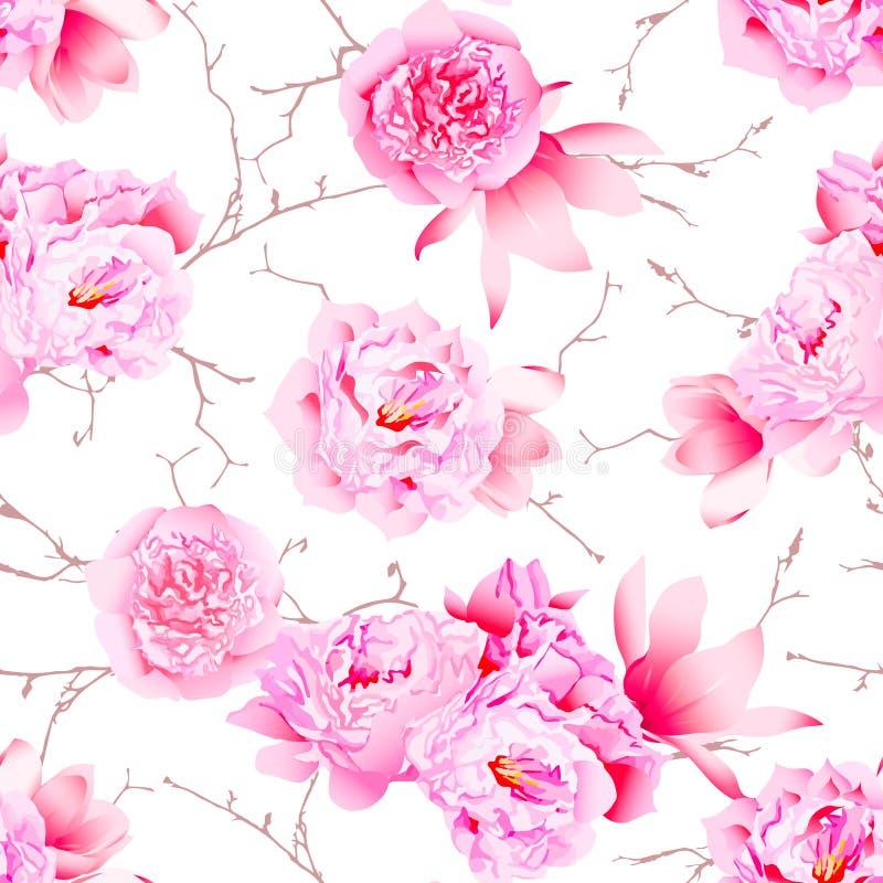 Las peonías delicadas y el vector inconsútil floral de la camelia imprimen stock de ilustración