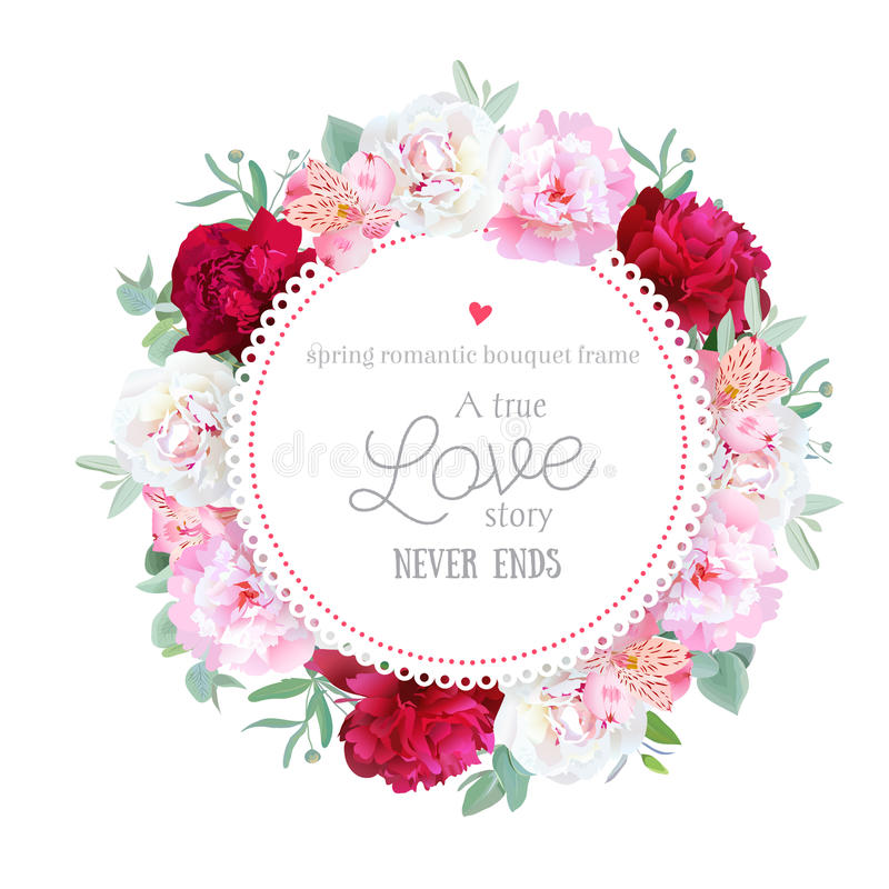 Las peonías rojas, blancas y rosadas románticas, lirio del alstroemeria, eucalipto se van alrededor de marco del vector libre illustration