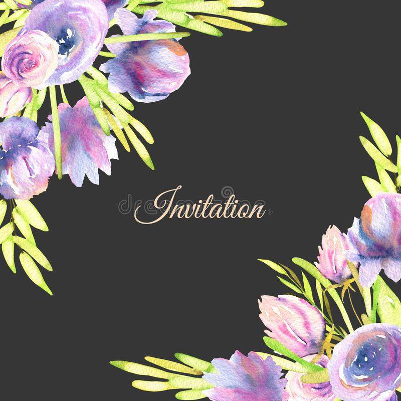 Las peonías y las rosas púrpuras de la acuarela cardan la plantilla, boda, saludo, diseño de tarjeta de la invitación ilustración del vector