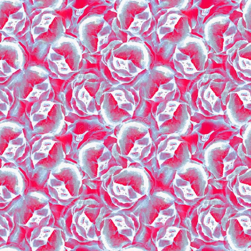 Las peon?as de la acuarela modelan el estampado de flores incons?til Dibujo de la acuarela en el fondo blanco ilustración del vector