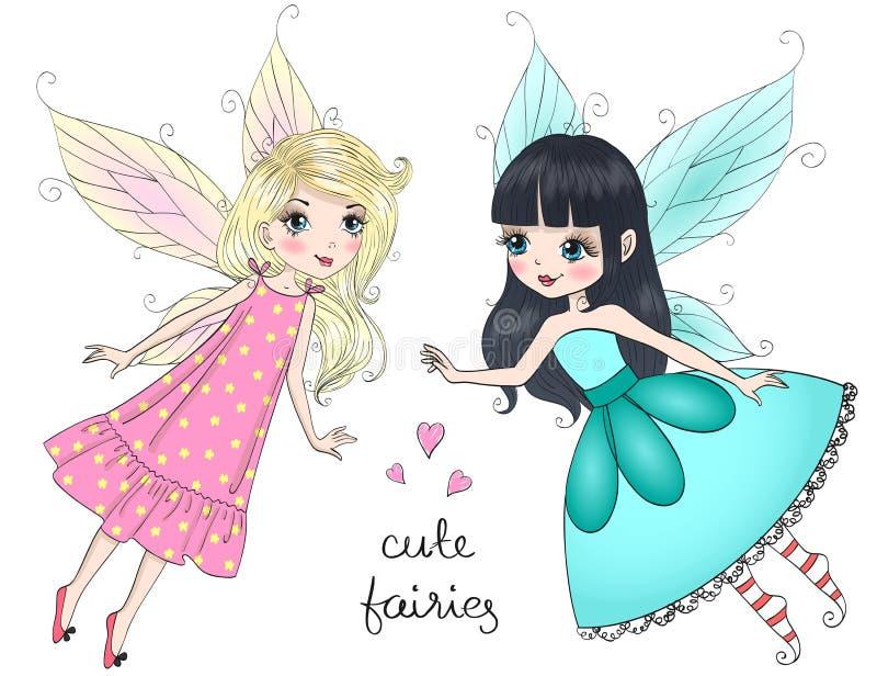Las pequeñas muchachas lindas hermosas de las hadas con la mariposa se van volando Ilustración del vector ilustración del vector