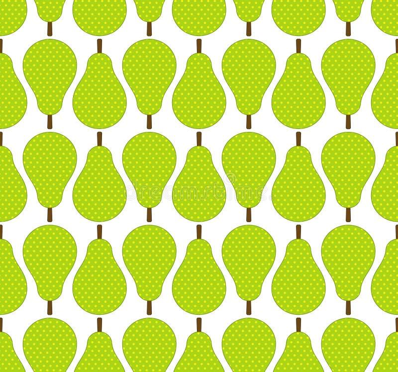 Las peras planas del verde del estilo dan fruto en las filas modelo inconsútil, vector libre illustration