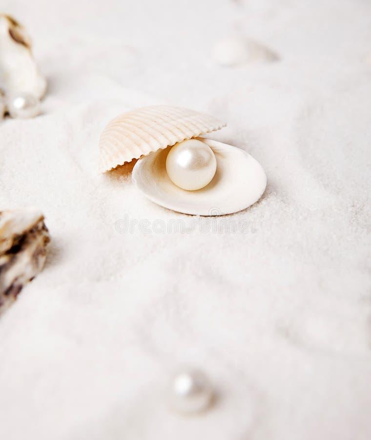 Las perlas blancas están en la arena imagenes de archivo