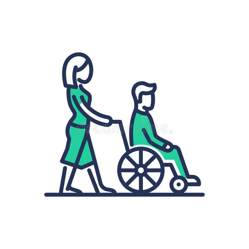 Las personas discapacitadas ayudan - a la línea moderna icono del vector del diseño ilustración del vector