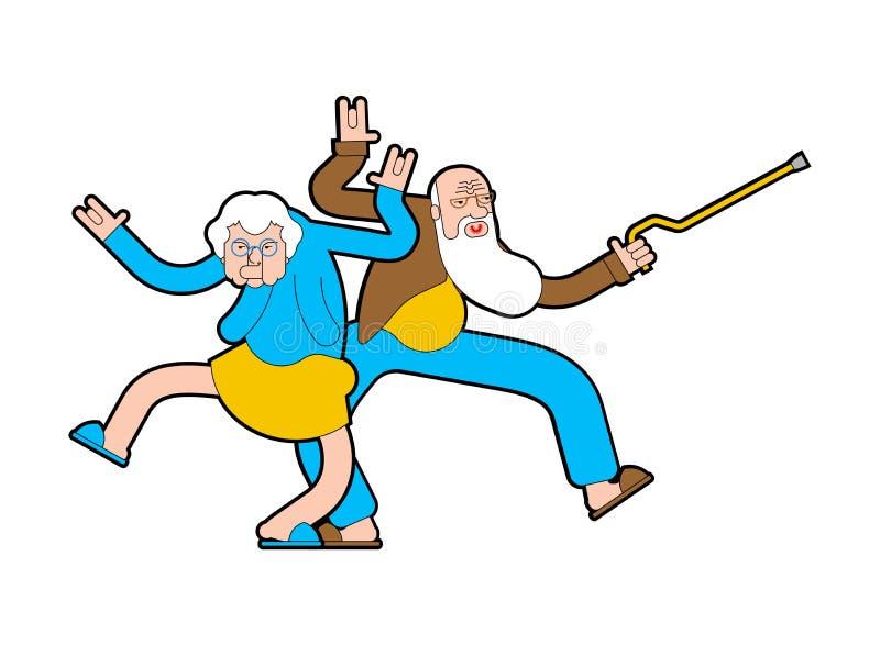 Las personas mayores bailan El abuelo y la abuela son bailarines Disco de los jubilados ilustración del vector