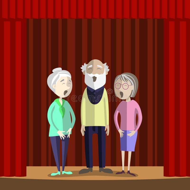 Las personas mayores cantan en la etapa del teatro aficionado ilustración del vector