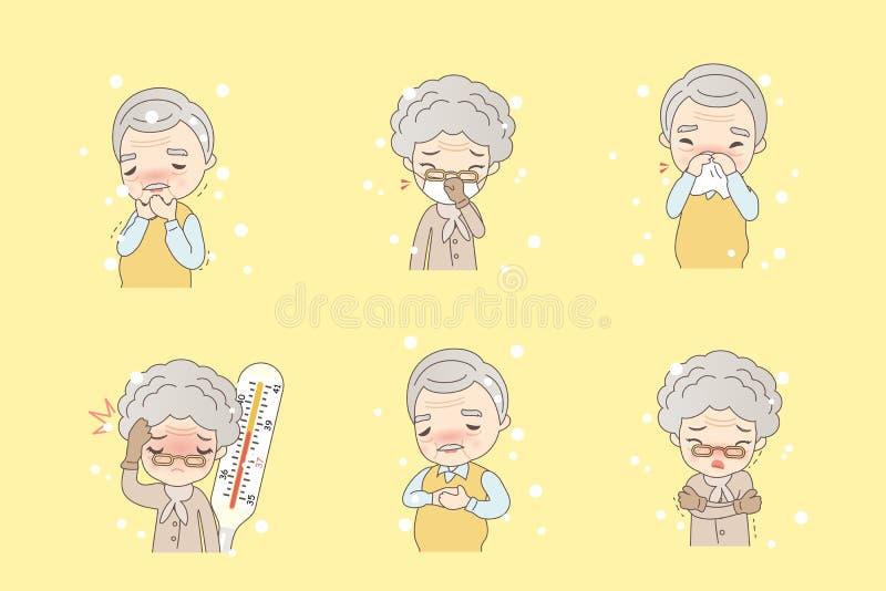 Las personas mayores de la historieta cogen frío libre illustration