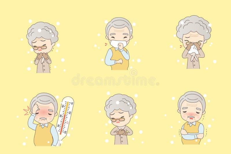 Las personas mayores de la historieta cogen frío ilustración del vector