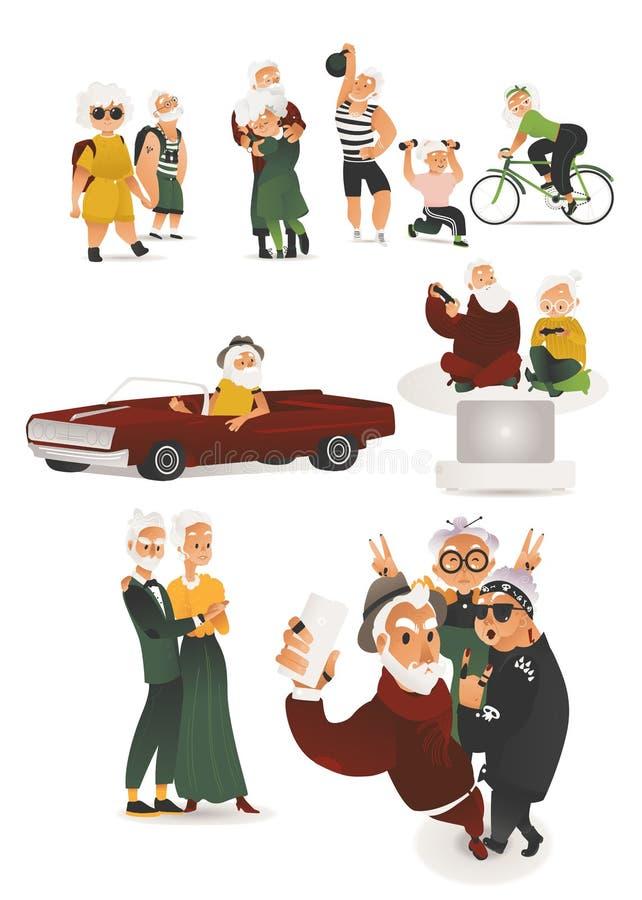 Las personas mayores planas del vector que se divierten cuelgan hacia fuera ilustración del vector