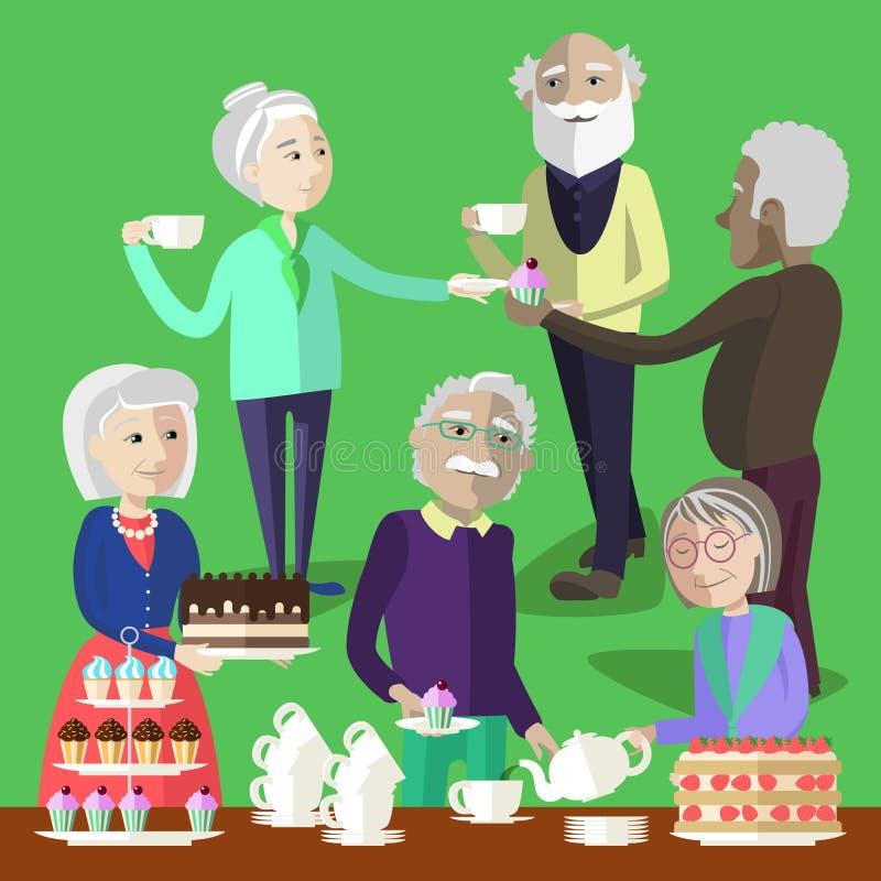 Las personas mayores tienen una fiesta del té en un centro mayor ilustración del vector