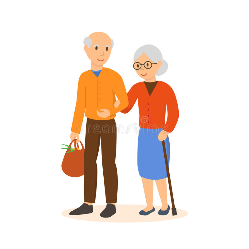 Las personas mayores van debajo del brazo en la tienda libre illustration