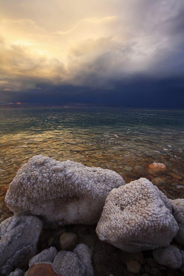 Las piedras costeras cubiertas por el aplazamiento salado foto de archivo