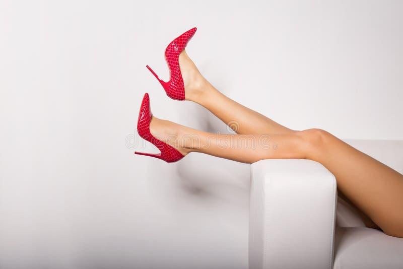 Las piernas de la mujer atractiva en tacones altos rojos imagen de archivo