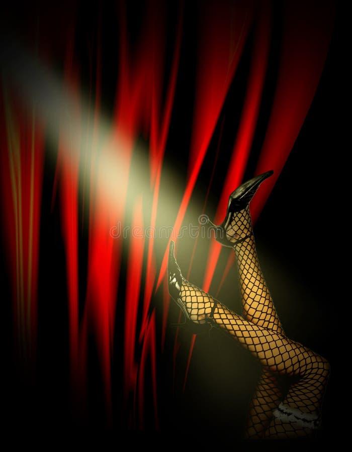 Las piernas de la mujer en cabaret foto de archivo