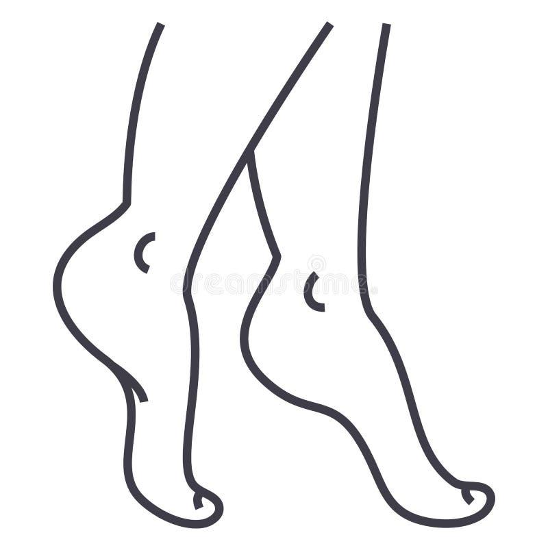 Las piernas de la mujer vector la línea icono, muestra, ejemplo en el fondo, movimientos editable libre illustration