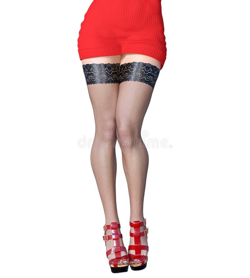 Las piernas femeninas atractivas delgadas largas hermosas ponen en cortocircuito medias rojas de la falda stock de ilustración