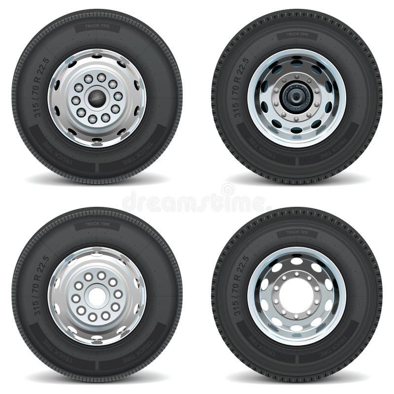 Las piezas del coche del vector fijaron al ingeniero del neumático del negocio del neumático stock de ilustración