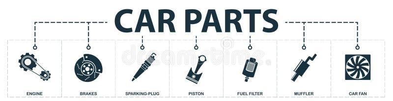 Las piezas del coche fijaron la colección de los iconos Incluye los elementos simples tales como motor, frenos, chispear-enchufe, stock de ilustración