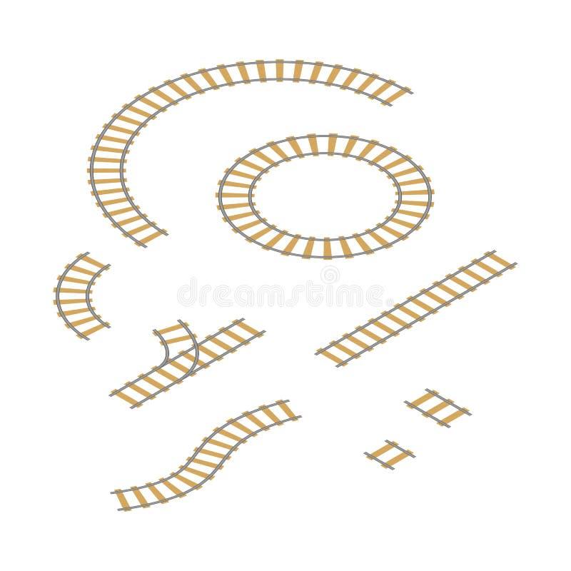 Las piezas ferroviarias de los elementos fijaron aislado en blanco Vector stock de ilustración