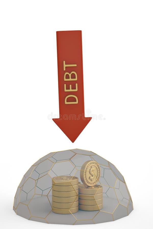 Las pilas de la moneda de oro en hexágono enmarcan la cubierta protectora illustrat 3d stock de ilustración
