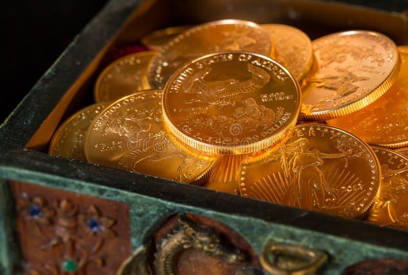 Colección de monedas de un oro de la onza imagen de archivo libre de regalías