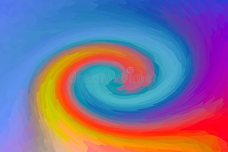 Las pinturas brillantes de la mezcla anaranjada azul del plexo enredan la lila carmesí del fondo del arte de la superficie de la  stock de ilustración
